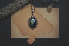 Labradorite necklace with yellow crystals  Genuine by DevilsJewel