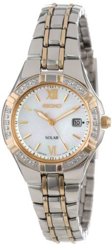 Just arrived Seiko Women's SUT068 Dress Solar Classic Diamond-Accented Two-Tone Stainless Steel Watch