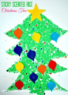 Sticky Scented Rice Christmas Tree by Crayon Box Chronicles - Very fun looking !