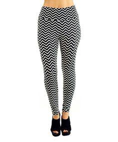 This Black & White Chevron High-Waist Leggings is perfect! #zulilyfinds