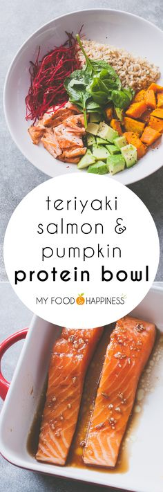 Teriyaki Salmon & Pumpkin protein bowl, a delicious and balanced pescatarian meal with brown rice. Guaranteeing a healthy dose of protein, carbohydrates and Omega 3.