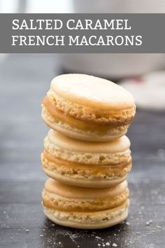 Salted Caramel Macarons classic french cookies with a salty caramel center! Salted Caramel Macarons classic french cookies with a salty caramel center! Source by cookwithmanali Macaron Filling, Macaron Flavors, Macaron Recipe, French Macarons Recipe Flavors, Salted Caramel Macaroons, Caramel Cookies, Baking Recipes, Cookie Recipes, Dessert Recipes