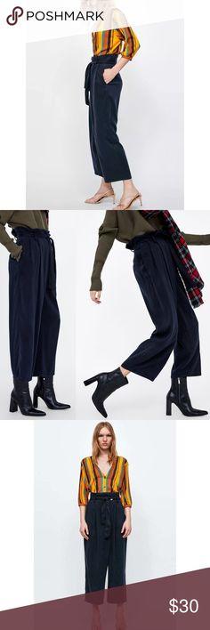 Zara navy blue paper bag waist trouser pants On-trend paper bag waist pants  from 7374a52659f81