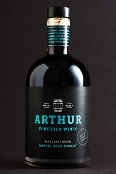 A wine bottle as unique as the wine. Arthur Wines is located in Margaret  River, Australia, and specializes in making fortified wines. Studio Lost &  Found has designed the packaging for their newest Muscat, a small batch of  only 1,000 bottles that has been aged for 24 months in old cognac barrels.