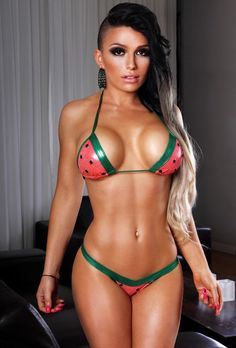 Scrunch butt watermelon print bikini outfit