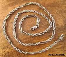 "4mm 22"" MARKED BOLIVIA 925 SOLID STERLING SILVER MILANO ROPE CHAIN NECKLACE 21g"