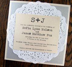 Vintage Lace Doily Wedding Invitation
