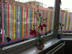 Window dressing Washi tape How colourfull! I might use this idea for my kitchen...