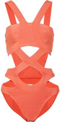 exactly what i need this year :ShopStyle: Hervé Léger Cutout bandage swimsuit