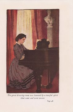The great drawing-room was haunted by a tuneful spirit that came and went unseen - Little Women by Louisa M. Alcott, 1922 - Jessie Wilcox Smith, illustrator