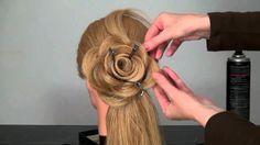 Вечерняя прическа Роза Цветок из волос Hair made rose