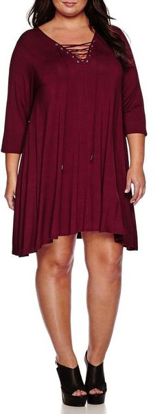 Plus Size Lace-Up Knit Dress