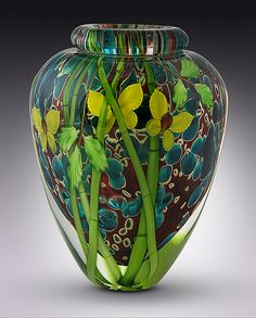 Butterflies and Bamboo Vase by Mayauel Ward: Art Glass Vase available at www.artfulhome.com