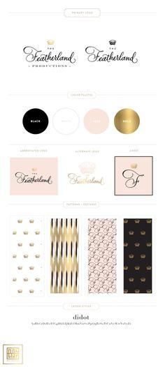 The Featherland Branding Design } Blush, Black, Gold Brand, Logo