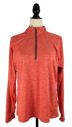 NIKE WOMEN'S DRI-FIT ELEMENT HALF-ZIP SHIRT SIZE XL ACTION RED/HEATHER #Nike #Running #Jogging