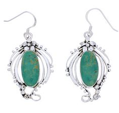 Turquoise Hook Dangle Earrings Sterling Silver Jewelry BW74787 http://www.silvertribe.com