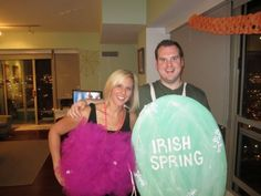 This is our costume this year! Bar of soap and a loofah!