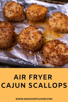 Make cajun sea scallops in the air fryer in less than 10 minutes. This is a super easy and quick beginner air fryer recipe. Perfect for one or two people and can be your favorite quick weeknight dinne Air Fryer Oven Recipes, Air Frier Recipes, Air Fryer Dinner Recipes, Air Fryer Recipes Low Carb, Healthy Chicken Recipes, Healthy Breakfast Recipes, Cooking Recipes, Healthy Scallop Recipes, Airfryer Breakfast Recipes