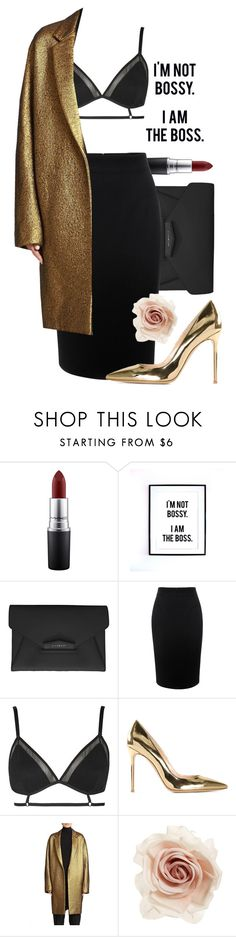 """""""#GoldenShoot"""" by maxyyne ❤ liked on Polyvore featuring MAC Cosmetics, Givenchy, Alexander McQueen, Topshop, Gianvito Rossi, Donna Karan and Cara"""