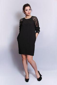 e3f691bd321 Платье Нью Еар платье баллон балон черного цвета с ажурными рукавами