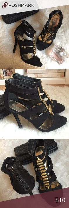 """strappy black heels black suede-like strappy heels with gold embellishments. zippered back. approx. 4"""" heel height. worn maybe ten times, but still in decent condition. no damages, just normal wear and tear on bottom soles. no size indicated, but is either a 5.5 or 6. fits more like a 5.5. Shoes Heels"""