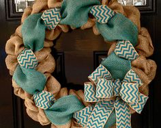 Red and Natural Chevron Burlap Wreath 22 inch by SimplyBlessedGift