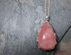 Natural Pink Rose Quartz Cabochon Recycled Sterling by byAngeline, $220.00