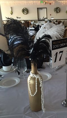 Wedding Budget Another centerpiece at my work holiday Great Gatsby party. Guests like them since there wasn't any left at the end of the night! Mafia Party, Great Gatsby Motto, Great Gatsby Wedding, The Great Gatsby, Trendy Wedding, Gangster Party, Harlem Nights Theme Party, Fete Marie, Speakeasy Party