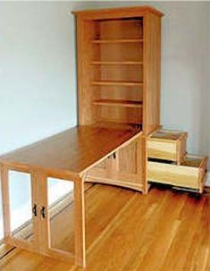 The Sonoma WallbedTM options include wall bed lighting, custom size wall beds, S. - The Sonoma WallbedTM options include wall bed lighting, custom size wall beds, Sonoma Library Wall - Furniture Projects, Furniture Plans, Home Projects, Diy Furniture, Furniture Design, Murphy Table, Craft Room Desk, Diy Sewing Table, Murphy Bed Plans