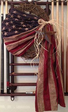 Primitive Antiqued American Flag Wreath Americana Vintage Country Patriotic USA