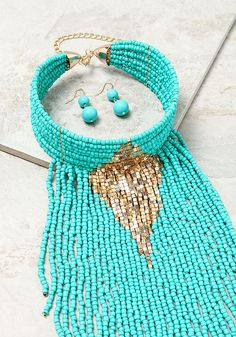 Turquoise Beaded Waterfall Choker Necklace - Necklaces - Jewelry - Accessories
