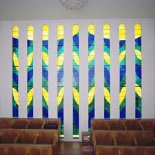 Stained glass window designed by Henry Matisse at a chapel in Venice France