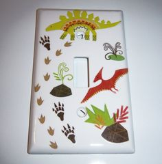 Dinosaurs single light switch cover by MoanasUniqueDesigns on Etsy, $10.00