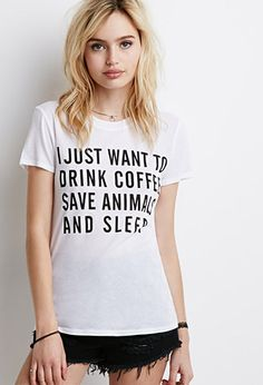 Animals and Coffee Graphic Tee | Forever 21 - I need to get one this is so me!!!
