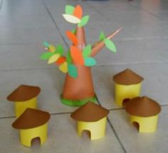 Build your own African village Creative Activities For Kids, Crafts For Kids, Arts And Crafts, Decoration Creche, African Art Projects, Travel Crafts, African Theme, Diy Back To School, World Crafts