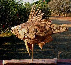 Fish Driftwood Sculptures & Art - Tony Fredriksson Open Sky Woodart in White River, Mpumalanga, Fish Gallery Sculptures by Tony Fredriksson Driftwood Fish, Driftwood Sculpture, Fish Sculpture, Outdoor Sculpture, Image Of Fish, Fish Gallery, Stick Art, Ocean Art, Fish Art
