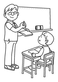 Top 9 Classroom Coloring Pages for Kindergarten Students - Coloring Pages Mini Drawings, Animal Drawings, Drawing Sketches, Coloring For Kids, Coloring Books, Telephone Drawing, Kindergarten Goals, Learn Art, Stone Crafts
