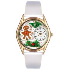 Whimsical Women's Christmas Gingerbread White Leather Watch. #gingerbread #baking #Christmas