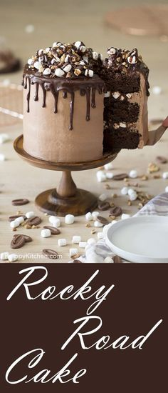 Easy Rocky Road Cake to make for your mom on Mother's day! (Easy Cake) Easy Rocky Road Cake to make for your mom on Mother's day! Köstliche Desserts, Delicious Desserts, Dessert Recipes, Cupcake Recipes, Food Cakes, Cupcake Cakes, Rocky Road Cake, Rocky Road Cupcakes, Rocky Road Cookies