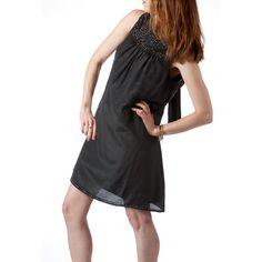 Shubrah, Little Black Bugle Beaded Silk Dress, Size S