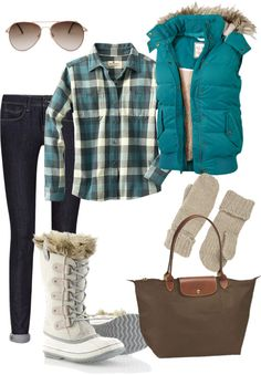 """""""Busy Snow Day"""" by amaymay10 on Polyvore. Flannel shirt, down vest and warm furry boots. Perfect winter outfit!"""