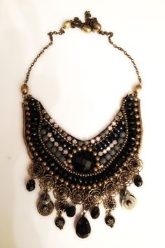Necklace bib  Boho chic black crystal stones by RachelGefenDesigns, ₪450.00
