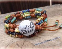 Beaded Leather Wrap/ Boho Seed Bead by AZJEWELRYBYELIZABETH