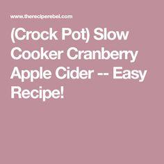 (Crock Pot) Slow Cooker Cranberry Apple Cider -- Easy Recipe!