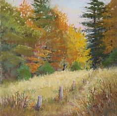 "October Stroll by Lisa Stauffer Pastel With Watercolor Underpainting ~ 12"" x 12"""