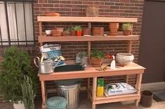 Discover ways to construct a beautiful potting bench with cabinets and a recess to coll. , Discover ways to construct a beautiful potting bench with cabinets and a recess to coll. Discover ways to construct a beautiful potting bench with c. Potting Bench With Sink, Potting Bench Plans, Potting Tables, Potting Sheds, Planting Bench, Diy Bank, Potting Station, Bench Designs, Small Patio