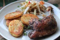 Langtidsstegt andelår   La Dolce Vita - mit middelhavskøkken Oven Dishes, Pork, Food And Drink, Meat, Cooking, Kale Stir Fry, Kitchen, Pork Chops, Brewing