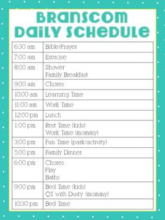 Here is my daily schedule for most week days. My friend Katie from Building a House of Love made this for me and this is what we try to follow daily. I usually work no more than 15-20 hours per week.