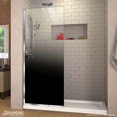 DreamLine Linea Ombre H x to W Frameless Fixed Chrome Shower Door at Lowe's. The DreamLine Linea Ombre is a single panel, walk-in shower screen, with a unique patented bold gradient design, adding sophistication and extravagance to Walk In Shower Screens, Douche Design, Glazed Glass, Walk In Shower Designs, Frameless Shower Doors, Thing 1, Wall Installation, Bronze, Shower Remodel