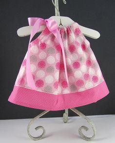 Pink Infant Dress with Bloomers - Flower Bubbles - Swing Dress and Bloomer Outfit - Size Newborn 6 Months 9 Months or 12 Months & Jess Liu Koenig and @Jenn L Wofford Pillowcase dress for Stella ... pillowsntoast.com